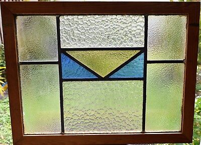 Antique Leaded English Stained Glass Window Wood Frame England Old House 82