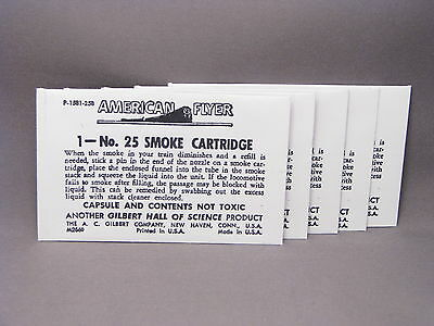 5-Envelopes for American Flyer Number 25 Smoke Cartridge kits - M2660