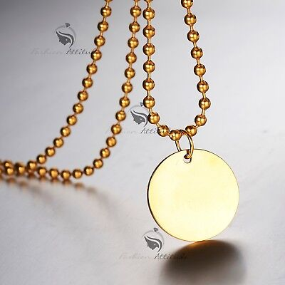 Silver gold stainless steel pendant plain simple round name tag necklace