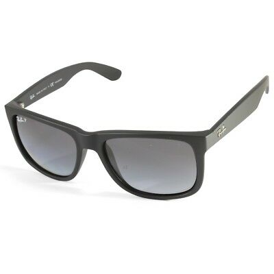 Ray Ban Rb4165 622 T3 Justin Matte Black Grey Gradient Polarised Sunglasses