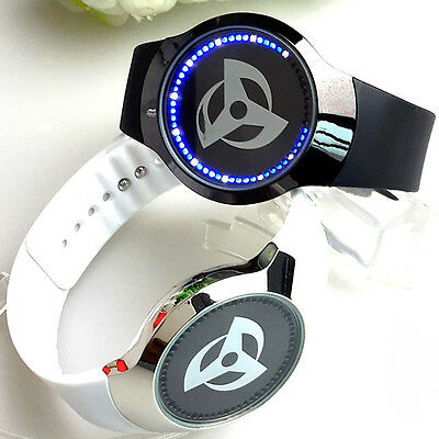 Anime Naruto Watch Syaringan LED Watches Touch Screen Glass Electronic PU Strap