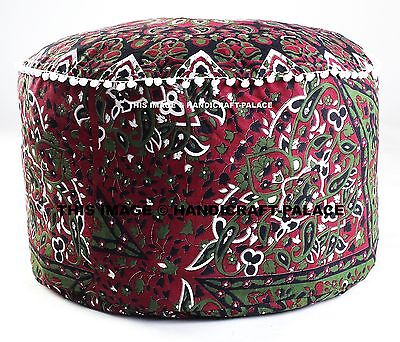 Indian Star Mandala Ottoman Pouf Cover Round Tapestry Cotton Ottoman Foot Stool