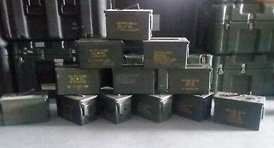 US Military LOT OF 12 Ammo Cans 7.62 30 cal M19A1 Airtight Steel 10x3.5x7