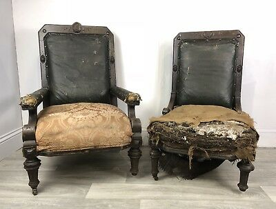 Pair Antique Carved Oak Library / Fireside Chairs - Restoration Project