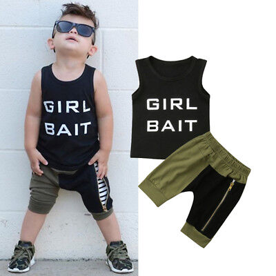 2Pcs Toddler Kids Baby Boy Summer Vest Tops T-shirt Harem Shorts Outfits Clothes