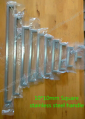 """10mm Square Bar Stainless Steel Kitchen Door Cabinet Handle Pull Knob 2""""~19.3''"""