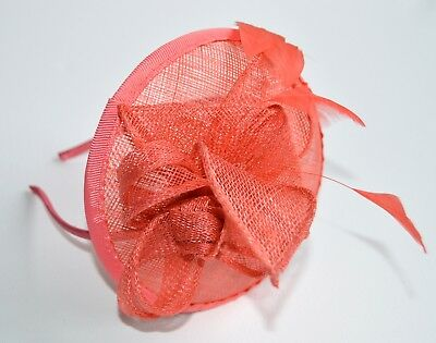 New Coral pink flower cap sinamay aliceband fascinator wedding races ascot prom