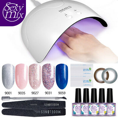 Sexymix 9ML Set 5 Color Esmaltes de uñas en gel 16W UV LED Lámpara Herramientas