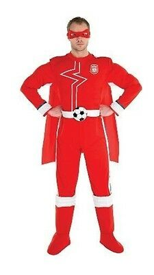Mens Adults Fancy Dress Liverpool Superhero Red & Gold Costume Cape Full Costume