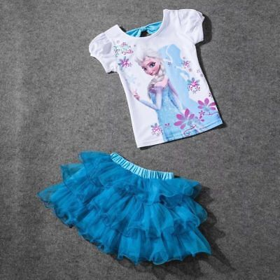 NEW Frozen Elsa Princess Dress Kids Costume Party Cosplay Girls Fancy tutu skirt