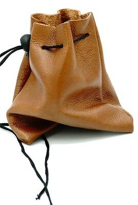 Medieval/Larp/Reenactment-Gaming TAN LEATHER BUSHCRAFT POUCH/BAG