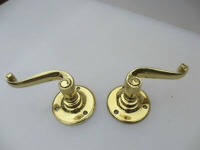 Vintage Brass Lever Door Handles Architectural Antique Rococo Scroll Plates Old