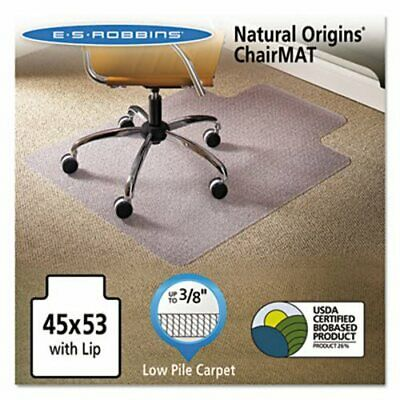 "Natural Origins Chair Mat With Lip For Carpet, 53"" x 45"", Clear (ESR141042)"