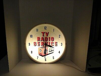 TV Radio Service GE Electronic Tube Wall Clock
