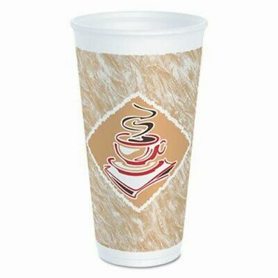 Dart Cafe G Foam Hot/Cold Cups, 20 oz, Brown/Red/White, 20/Pack (DCC20X16GPK)