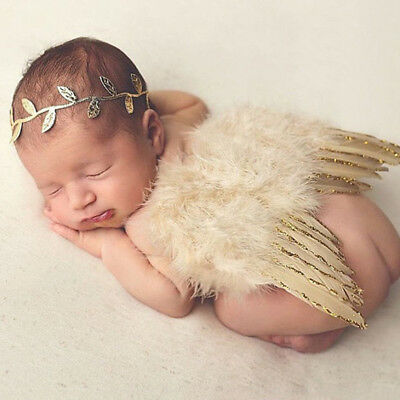 Baby Newborn Elastic Leaves Headband+Feather Angel Wing Costume Photograph Props