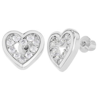 Rhodium Plated Openwork Clear CZ Heart Love Screw Back Girl Earrings