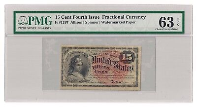 Fr#1267 15¢ 4th Issue Columbia Fractional, Watermark, PMG 63 EPQ Choice Unc