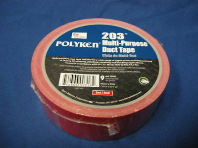 """NEW POLYKEN 203 MULTI-PURPOSE DUCT TAPE RED 1.89"""" x 60.1yd X 9 MIL MADE IN USA"""