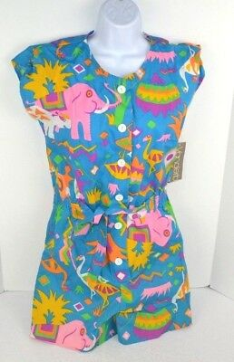 Vtg 1980's Whimsical Animals Bright Colorful 1pc Romper Shorts Set, Turquoise 9