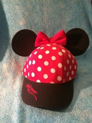 Disney Parks Minnie Mouse Youth Red Polka Dot Baseball Cap Hat with Ears NWOT