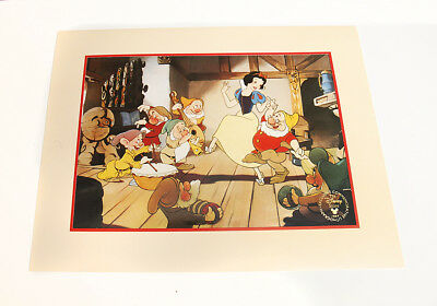 Disney Snow White and the Seven Dwarfs Lithograph 1994 Wall Art Print Dancing