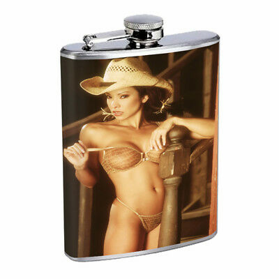 Country Pin Up Girls D3 Flask 8oz Stainless Steel Hip Drinking Whiskey