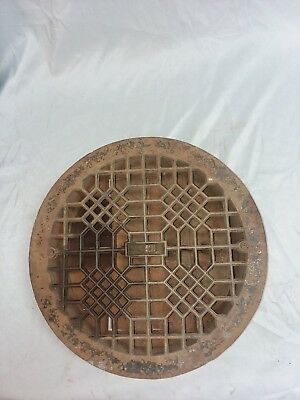 "Antique Cast Iron Round Floor Heat Grate Register Vintage 14"" 96-18F"
