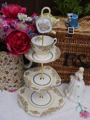 Quirky  Vintage  lemon mad hatter cake stand  mini teapot