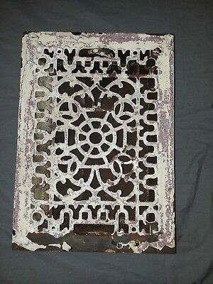 Antique Cast Iron Floor Wall Heat Grate 14x10 Louvres Victorian Design  97-18F