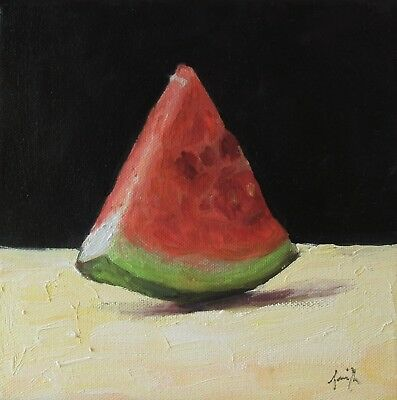 Oil Painting on canvas. Watermelon Slice. Still Life Original. J Smith