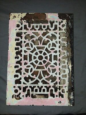 Antique Cast Iron Floor Wall Heat Grate 14x10 Louvres Victorian Design  100-18F