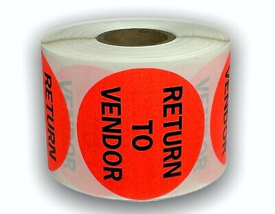 """2"""" Circle Br/Red RETURN TO VENDOR Shipping Mailing Retail Stickers 500 Labels"""
