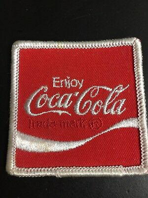 "ENJOY COCA-COLA, Employee Uniform Patch Embroidered 2 1/2"" Vintage 1970s L@@K!!"