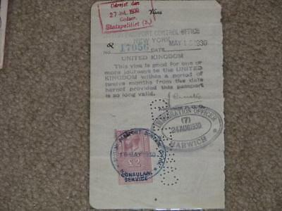 Great Britain 2 Pound Consular Service on Document, May 16, 1930