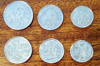 SET of 6 SINGAPORE Coins! 10,20,50 CENT. 3(80's)Style & 3New 2016. Kids Love Em!