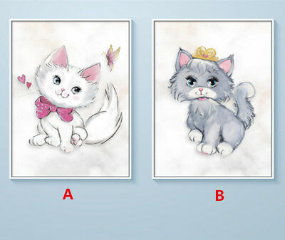 DIY 5D Diamond Painting Full drill Lovely Cat Animal Embroidery Decor Craft 310Y
