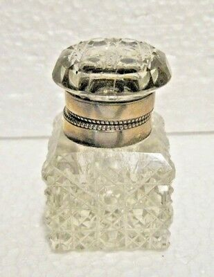 Antique Crystal Cut Glass Desk Top Inkwell