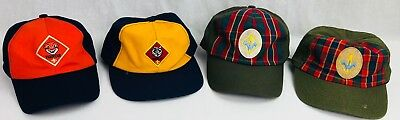 Boy Scouts BSA Cub Scout Hat LOT 2x Webelos Plaid, Tiger Cub, Wolf Adjustable ++
