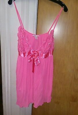 Victoria's Secret Lingerie Babydoll orange Lace Pleated Satin and Bow size XL