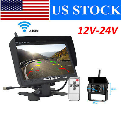 "For RV Truck Bus Van Wireless IR Rear View Backup Camera Night Vision+7"" Monitor"