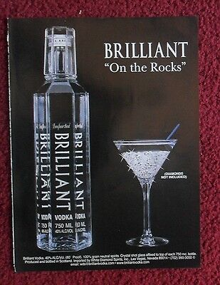 2001 Print Ad BRILLIANT VODKA ~ 'On the Rocks' Diamonds Not Included