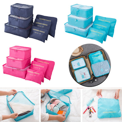 Six Pieces Set Luggage Organiser Suitcase Storage Bags Packing Travel Cubes AU