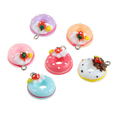 Cute 10X Mixed Color Resin Doughnut//Bread//Cake Charm Pendant 22*17mm Jewelry