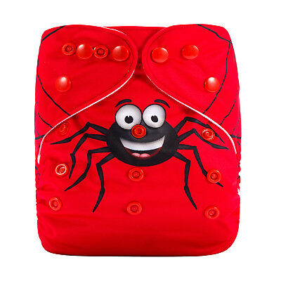 Modern Cloth Reusable Washable Baby Nappy Diaper & Insert, Spider and Web