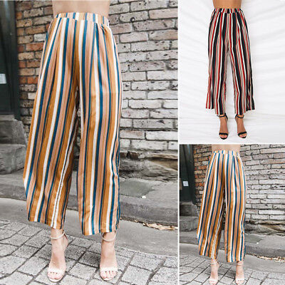 Neu Sommer Damen Ladies Casual Hohe Taille Striped Hose Wide Leg Long Trousers