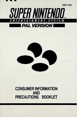 Super Nintendo Consumer Infomation and Precautions Booklet PAL