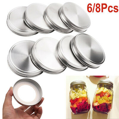 Stainless Steel Solid Caps Lid for Regular Wide Mouth Mason Ball Canning Jar Kit