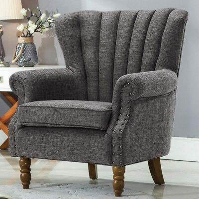 3 Colour 1 Seater Sofa Wooden Legs Tall Wingback Vintage Tub Accent Armchair Tub