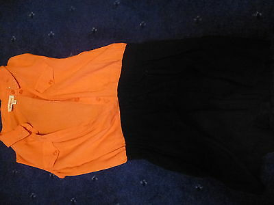 girs playsuit by blue zoo orange to black shorts age 8 in vg condition